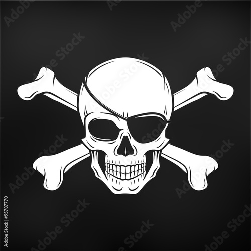 jolly roger with eyepatch and crossbones logo template evil skull