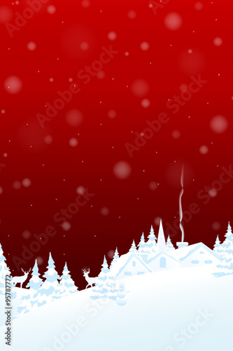 merry christmas and happy new year card red background with winter landscape vector illustration