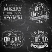 Set Of Christmas Emblems - Chalkboard.
