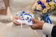 Bride and groom holding rings