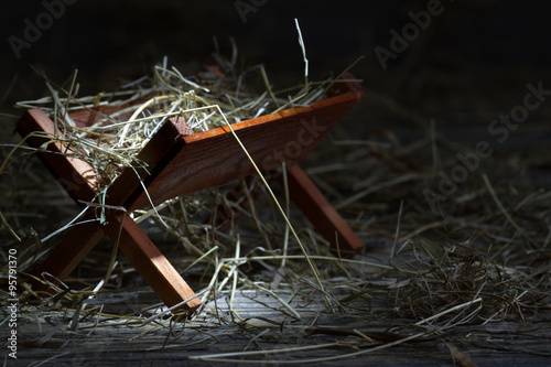 Photo  Manger in the stable abstract christmas symbol