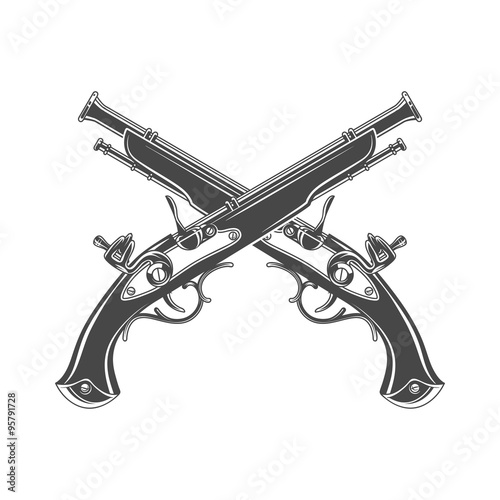 Firelock musket vector Wallpaper Mural