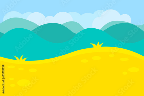 Foto op Canvas Regenboog Cartoon Landscape of Green Meadows, Fields, Hills and Trees for Game