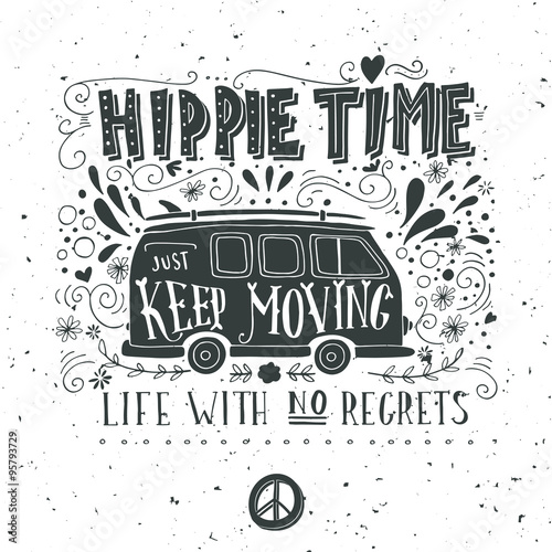 Photographie  Vintage hippie time print with a mini van, decoration and letter