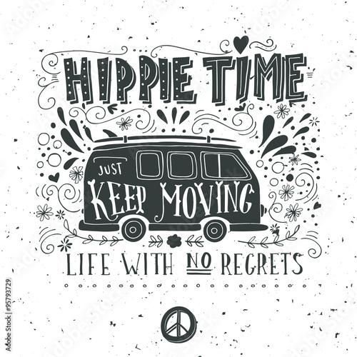Fotografia  Vintage hippie time print with a mini van, decoration and letter