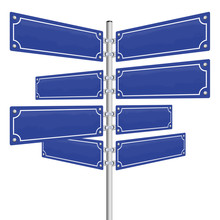 Blank Street Signs - Eight Blue, Vintage Style Panels Fixed On A Pole. Isolated Vector Illustration Over White Background.