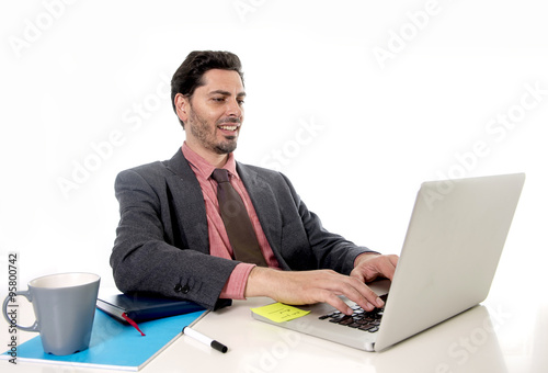 Fototapety, obrazy: businessman working at office computer laptop looking happy sati