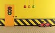 Yellow playroom with toy car