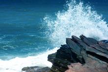 Wave Impact The Stone, The Sea