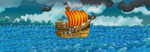 Cartoon Scene With Old Ship Sailing During Night - Stormy Weather - Illustration For The Children