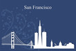 San Francisco city skyline silhouette on blue background