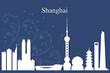 Shanghai city skyline silhouette on blue background