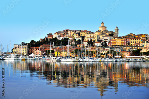 Photo sur Aluminium Ligurie City of Imperia, Liguria, Italy during sunrise