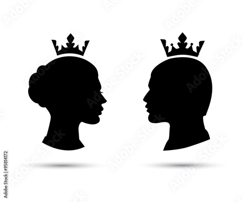 Fotografia king and queen heads, king and queen face vector silhouette