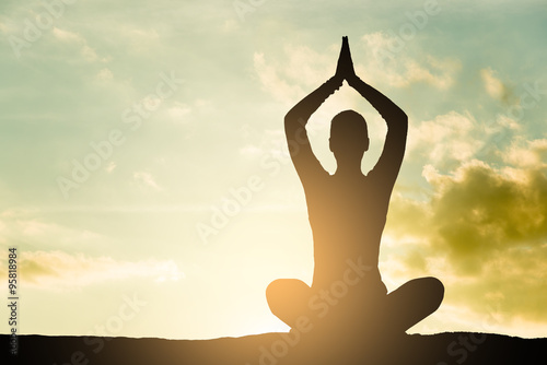 Fotografie, Tablou  Yoga silhouette outdoor at sunset