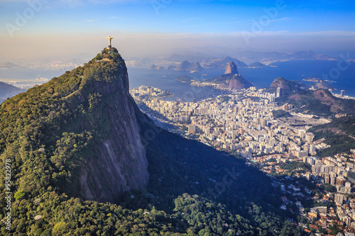 Aerial view of Christ the Redeemer and Rio de Janeiro city
