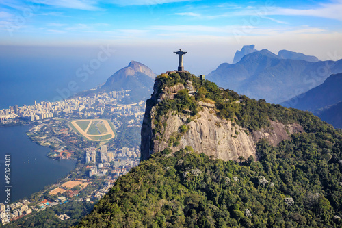 Aerial view of Christ the Redeemer and Rio de Janeiro city Wallpaper Mural