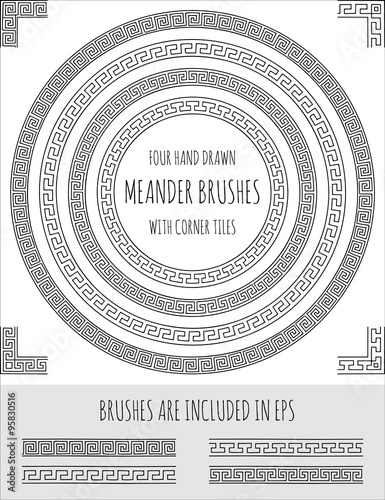 Photo  Vector set of four hand drawn four meander brushes with corner tiles