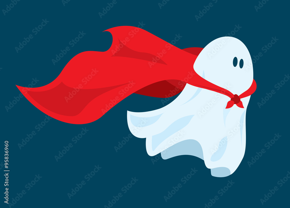 Fototapeta Cute super hero ghost flying with cape