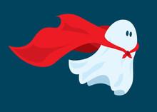 Cute Super Hero Ghost Flying W...