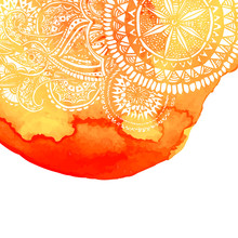 Orange Watercolor Brush Wash With White Hand Drawn Pattern - Round Doodle Tribal Elements. Vector Ethnic Design In Boho Style