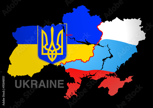 Photo  Ukraine map UKRAINE V RUSSIA