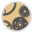 shabby badge with gears in style grunge