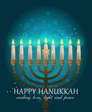 Happy Hanukkah Greeting Card Design, Jewish Holiday.