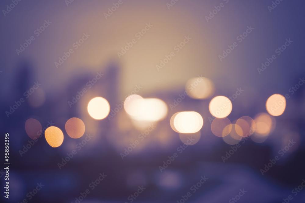 Fototapety, obrazy: Abstract urban night light bokeh, defocused background