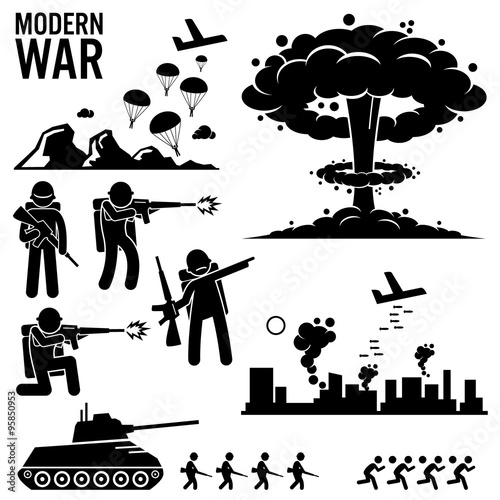 Valokuva  War Modern Warfare Nuclear Bomb Soldier Tank Attack Stick Figure Pictogram Icons