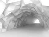 Fototapeta Scene - Tunnel interior with chaotic polygonal relief of walls