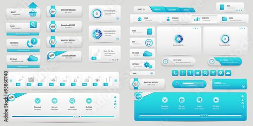 Tableau sur Toile Light blue business buttons pack