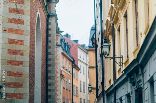 Poster Stockholm 04 October, 2015. Stockholm. old town cityscape in Stockholm.Sweden. Selective focus, soft focus