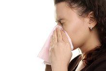The Girl With The Runny Nose On A White Isolated Background