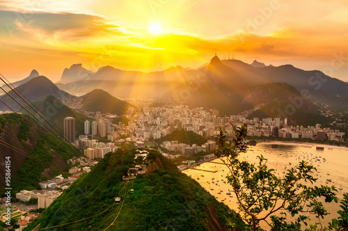 Poster Brésil Sunset view of Corcovado and Botafogo in Rio de Janeiro. Brazil
