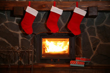 Christmas Stockings Hanging Ov...