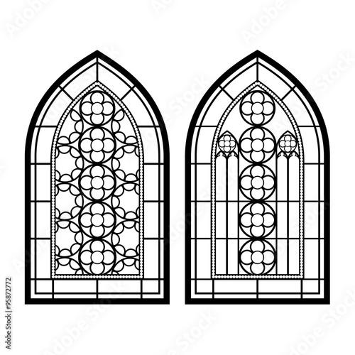 Cuadros en Lienzo Gothic windows. Vintage frames. Church stained-glass windows