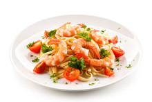 Shrimps With Pasta And Vegetables