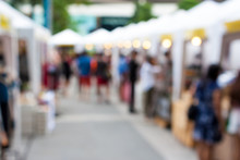 Blurred Background : People Shopping At Market In Holiday, Blur Background With Bokeh.