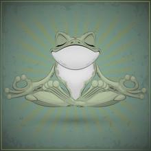 Funy Frog Doing Yoga.
