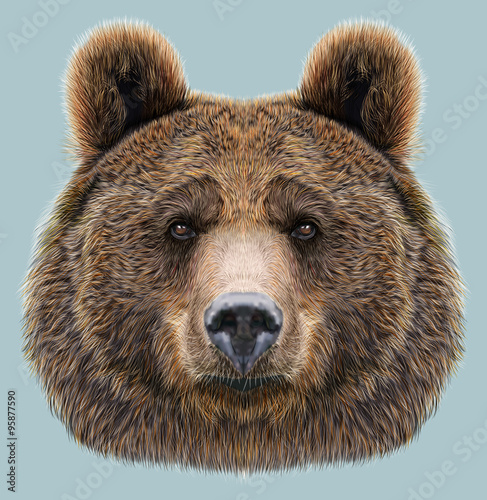 Fotografie, Tablou  Illustrated Portrait of Bear on blue background