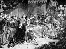 An Engraved Vintage Illustration Image Of The Trial Of Catherine Of Aragon, Queen Of England, UK, From A Victorian Book Dated 1868 That Is No Longer In Copyright