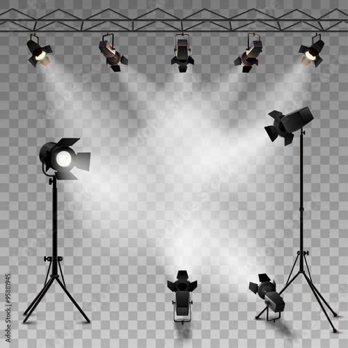 Staande foto Licht, schaduw Spotlights Transparent Background