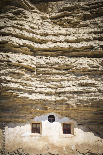 Fotografie, Obraz  hermitage Virgen de la Peña carved into the rock - Tosantos, Burgos, Spain