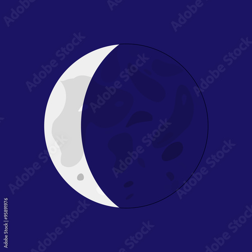 Waning Crescent - lunar phase. Flat style vector illustration. Plakát