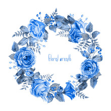 Vector Round Frame Of Blue Watercolor Roses And Berries.