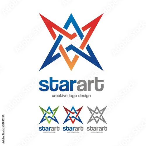 Fotografering  Line Star Two Colors Design Logo