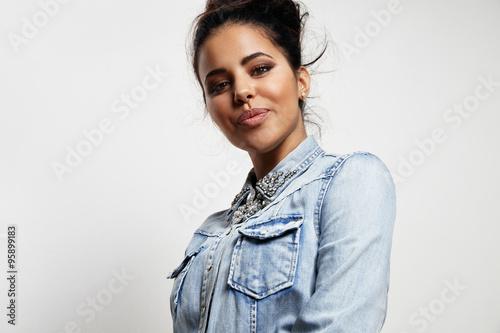 fototapeta na lodówkę young woman with pretty lips