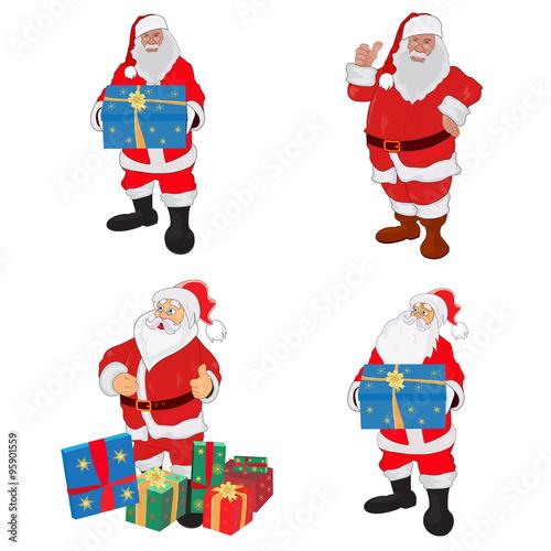 Fotografie, Obraz  Santa Claus, Christmas, New Year, gifts, set,  vector illustration