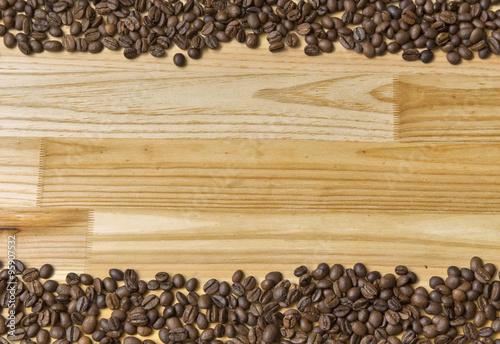 Deurstickers koffiebar coffee beans on a wooden board.